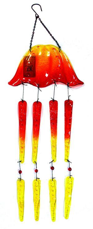 "Glass Jellyfish (Orange) Wind Chime - 27"" 1"