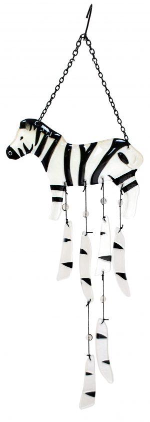 "Glass Zebra Wind Chime - 27"" 1"